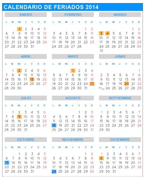 Calendario de feriados nacionales 2014 n made c smico for Calendario 2015 ministerio del interior